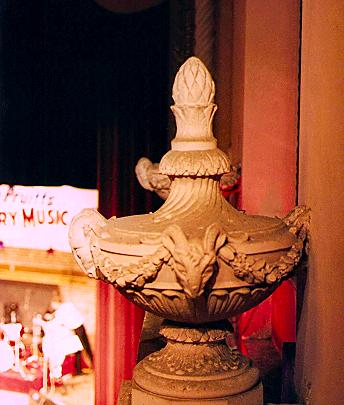 Urn finials on organ grille at the Jefferson Theatre in Beaumont, Texas
